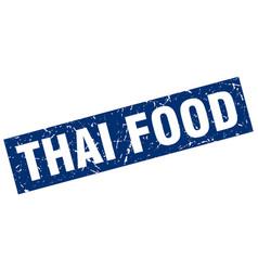Square grunge blue thai food stamp vector