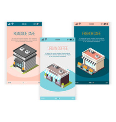 street coffee isometric banners set vector image
