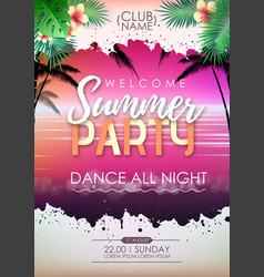 summer disco cocktail beach party poster vector image