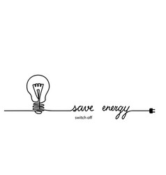 switch off turn off light save energy energy vector image