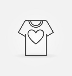 t-shirt with heart line icon volunteering vector image
