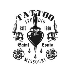 tattoo studio emblem heart pierced knife vector image