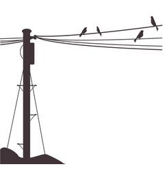 Telegraph pole birds vector