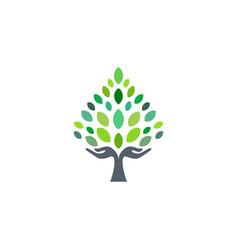 Tree hand logo hand tree wellness logo symbol icon vector