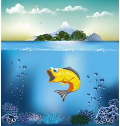 underwater world and island water landscape fish vector image