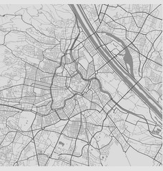 Urban city map vienna poster black grayscale vector