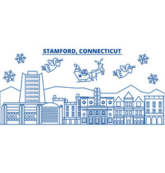 Usa connecticut stamford winter city skyline vector