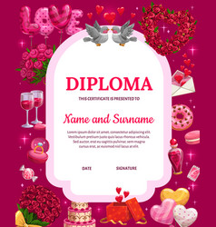 Valentines day diploma certificate vector