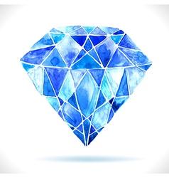 Watercolor beautiful blue diamond vector image
