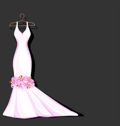 Watercolor wedding dress decorated with lily vector