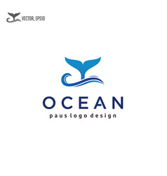 waves and whales tail logo design vector image