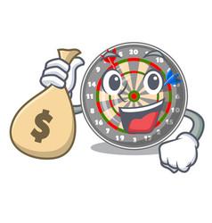 with money bag dartboard stuck to the cartoon wall vector image