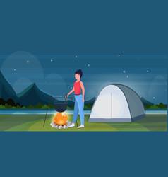 woman hiker cooking meals girl preparing food in vector image