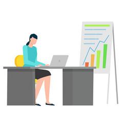 Woman working on laptop infochart on board vector
