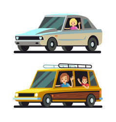 Young happy women driver driving cars flat vector