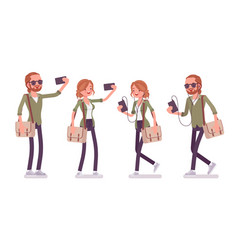 young red-haired man and woman with smartphone vector image