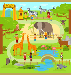 Zoo flat animals flat vector