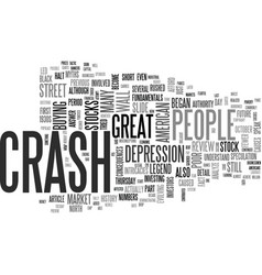 a review of the stock market crash of text word vector image vector image