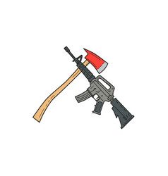 crossed fire ax and m4 carbine rifle drawing vector image vector image