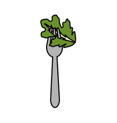 Fresh leaf lettuce in the fork utensil vector