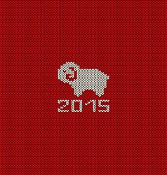 Knitted pattern card with funny sheep vector image