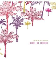 Palm trees seamless corner decor pattern vector image