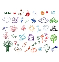 Set of Eco doodles vector image vector image