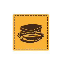yellow emblem sticker sandwich icon vector image vector image