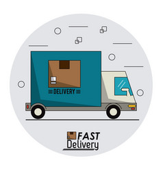 circular frame background with fast delivery truck vector image