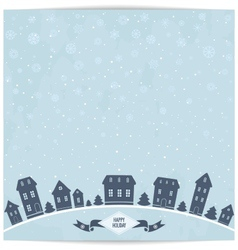 Happy holidays card with blue city silhouette vector image vector image