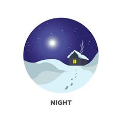 Night round web button with winter scenery vector