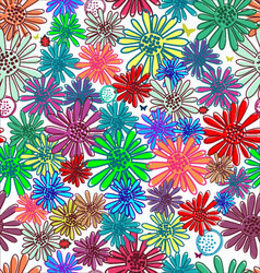 Seamless funny floral background vector image