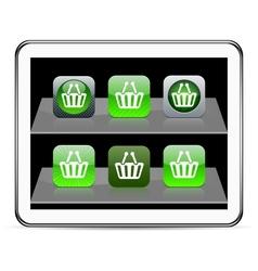 Shopping cart green app icons vector image vector image