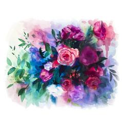 watercolors rose bouquet vector image vector image