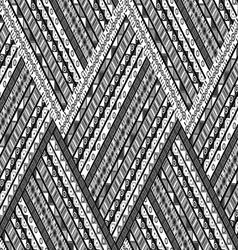 Zig zag background with ethnic motifs vector image