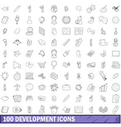 100 development icons set outline style vector image vector image