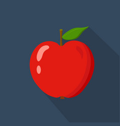 red apple cartoon flat icondark blue background vector image