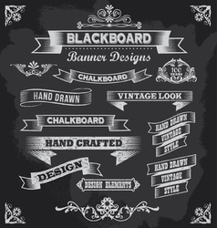 Retro chalkboard calligraphy banners vector
