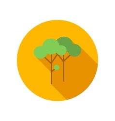 Two trees with green leaves flat icon vector image vector image