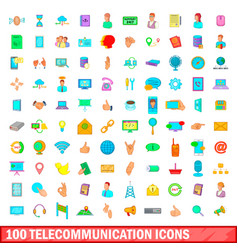 100 telecommunication icons set cartoon style vector image vector image