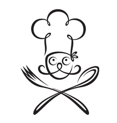 chef with spoon and fork vector image vector image