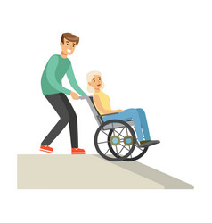 disabled elderly woman in wheelchair smiling vector image vector image