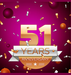 fifty one years anniversary celebration design vector image vector image