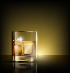 glass of whiskey with ice vector image vector image