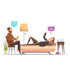 psychotherapy session retro cartoon vector image