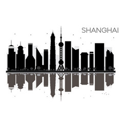 shanghai city skyline black and white silhouette vector image