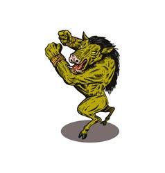 Wild Pig Boar Man Retro vector image vector image