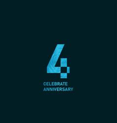 4 year anniversary aqua color template design vector
