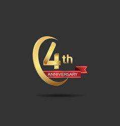 4 years anniversary logo style with swoosh ring vector