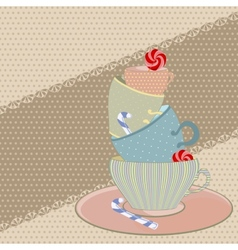 A set of mugs with sweets for tea vector